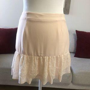 BCBG Generation Soft Pink Lace Tier Mini Skirt 0